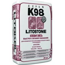 Клеевая смесь для природного камня и керамогранита LitoStone K 98 (Серый) 25 кг.